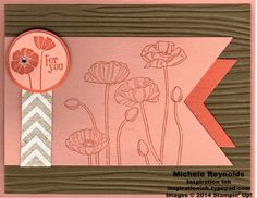 """Handmade card by Michele Reynolds, Inspiration Ink, using Stampin' Up! products - Best of Sale-A-Bration Set, Pleasant Poppies background stamp, Woodgrain Embossing Folder, Banners Framelits, 1-3/8"""" Circle Punch, 1-1/4"""" Circle Punch, and Natural 5/8"""" Chevron Ribbon."""