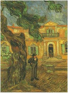 Pine Trees with Figure in the Garden of Saint-Paul Hospital by Vincent Van Gogh Painting, Oil on Canvas  Saint-Rémy: November, 1889