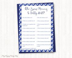 Who Knows Mommy and Daddy Best, Who Knows the Parents to be best, Blue Baby Q Shower, Couples Shower, Printable, Instant Download - BSU020B