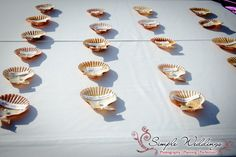 Seashell place cards are perfect for your Florida beach wedding!