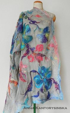 nuno felted silk scarf shawl SPRING FLOWERS handmade art to
