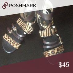Leopard sandals size 8 real fur Michael Kors Real fur leopard sandals Michael Kors hardly worn ankle zip back Michael Kors Shoes Sandals