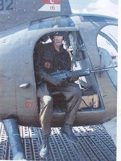 """M60 door gunner in a """"Little Bird"""", circa 1967. ~ Vietnam War"""