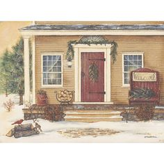 New England Winter Day Glittered by artist Pam Britton Primitive Christmas, Christmas Art, Christmas Images, Country Christmas, Christmas Projects, Vintage Christmas, Xmas, Painting Frames, Painting Prints