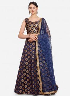 Sensational Blue Weaving Jacquard Trendy Lehenga Choli Banarasi Lehenga, Weaving, Sari, Stylish, Marriage Anniversary, Model, Party Wedding, Blue, Color