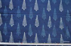Leaf design Indigo fabric Indigo mudcloth Block print fabric by the yard by VedahDesigns on Etsy