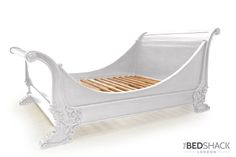 This beautiful French Brodsworth bed is inspired by Louis Philippe Lit Bateau with carved lion feet in an English style. It is made from excellent quality solid mahogany wood. It is hand crafted and hand painted in white shabby chic style with stunning detail and a curved headboard and footboard. It really is a statement piece for a special bedroom :) Available in double, kingsize and superking, check it our on our website, or get in touch for more info :)