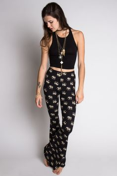 Elephant Printed Bell Bottoms - Stretchy and chic!
