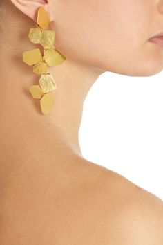 Earrings | Hervé Van der Straeten.  Hammered gold-plated brass.