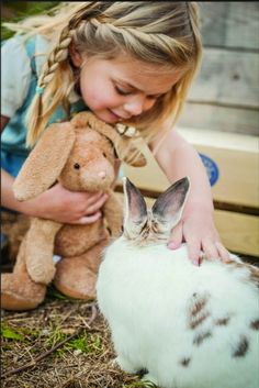 Children and country life, loving the bunny friends...