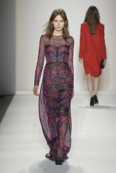 sheer printed silk dress - honor rtw fall 2012.