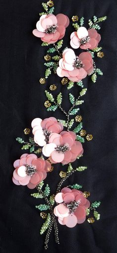 Ground Fabric : Black Tule Color : Pink Green Size (US or Imperial) :. Hand Embroidery Dress, Bead Embroidery Patterns, Couture Embroidery, Flower Embroidery Designs, Silk Ribbon Embroidery, Beaded Embroidery, Diy Broderie, Motifs Perler, Pink Sequin