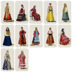 Russian Folk Costume Dress. Drawings by V. by RussianSoulVintage