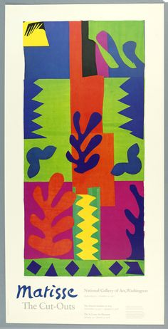 1977 Original Matisse Exhibition Poster, The Cut-Outs at the National Gallery of… Henri Matisse, Matisse Kunst, Matisse Art, Matisse Paintings, Picasso Paintings, Matisse Cutouts, National Gallery Of Art, Exhibition Poster, Pablo Picasso