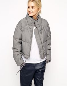 Enlarge ASOS WHITE Gray Marl Quilted Jacket