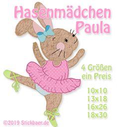 Der Stickbär | Hasenmädchen Paula | Stickmuster mit Herz