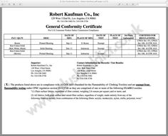 certificate of conformance template fabric certification