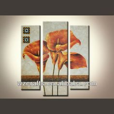 Orange calla lily fleur peinture à l'huile de toile peinture de groupe-Peinture et calligraphie-Id du produit:1786534514-french.alibaba.com