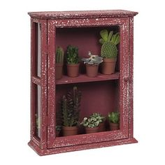Kastje van hout met glas met een middenplank. Verweerde look, rood. 39 x 14 x 49 cm. €49
