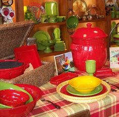 We've used our red Mama Ro' for years and just love it!!  The red (which we use as our everyday ware) is my all time favorite and looks festive all of the time.  It makes me happy whenever I see it!!