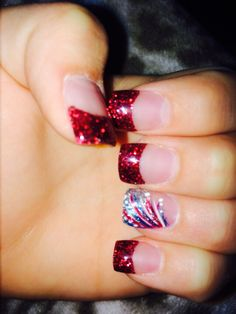 Fourth Of July Nails!!! #fireworks #july4th