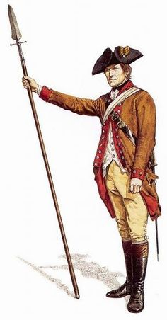 """American rebel infantry officer, circa 1775-1776 - """"During its earlier years, the American army wore uniforms in a wide variety of colours. Brown coats were quite common....This officer's weapon is a half-pike or 'spontoon', characteristic of 18th century British officers, which emphasizes how the rebels used the British army as a model in many ways for both uniforms and weapons."""""""