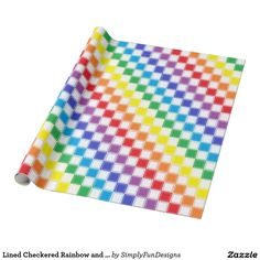 Lined Checkered Rainbow and White Wrapping Paper
