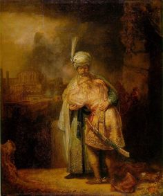 Rembrandt, David taking leave of Jonathan 1642, Hermitage Museum, St. Petersburg.  David is saying farewell to his friend and weeps.  Rembrandt painted this in the same year as the Night Watch.