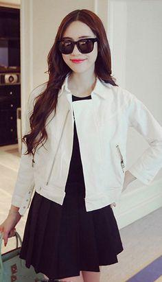 Fashiontroy Street style long sleeves lapel collar white zipped cropped denim jacket