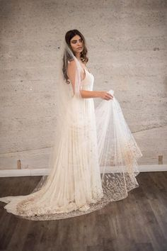 CELINE VEIL- NUDE   Cathedral length Hand Beaded Blush Crystal and Pearl Statement veil from Camilla Christine Bridal Accessories & Wedding Jewelry.