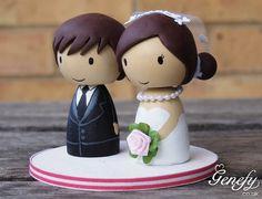 Cute wedding cake topper Bride and Groom by GenefyPlayground https://www.facebook.com/genefyplayground