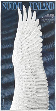 Suomi Finland joutsenen siipi by Erik Bruun Swan Wings, Snow Queen, Advertising Poster, Vintage Travel Posters, Visual Identity, Vintage Advertisements, Boho Decor, Illustrators, Nostalgia