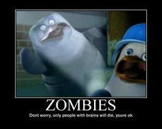 Okay, based on what I know about zombies, the safest place to hide is in a small dark room with creepy lighting. Penguins, No Worries, Evolution, Creepy, Funny Pictures, Reading, Cute, Zombies, Wall