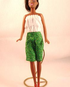 Handmade Barbie Shorts, White Gathered Tube Top - Shorts, Green with Tiny MultiColored Flowers- All Cotton. $5.00, via Etsy.