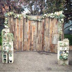 Rustic Outdoor Wedding Reception (photo backdrop)