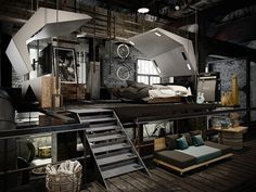 Ceilings are a good way to help free up space in one loft bedroom. A loft works in any bedroom, whether it's a home or a dormitory Industrial Bedroom Design, Industrial House, Industrial Interiors, Interior Design Living Room, Industrial Lighting, Modern Industrial, Industrial Loft Apartment, Industrial Farmhouse, Vintage Lighting