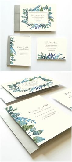 Printable Wedding Invitation Set // Succulents Leaves and Herbs // by Oak House Printable Designs: