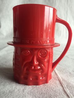Vintage Mr. Peanut Red Plastic Cup Made in USA