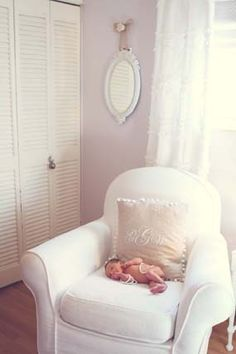 I like this light lavender color on the walls for a girls room