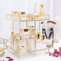 Rotate Makeup Organizer Perfume Stand Perfume Organizer   Etsy Makeup Storage Box, Cosmetic Storage, Perfume Organization, Jewelry Organization, Perfume Tray, Perfume Bottles, Perfume Display, Table Decor Living Room, How To Fold Towels
