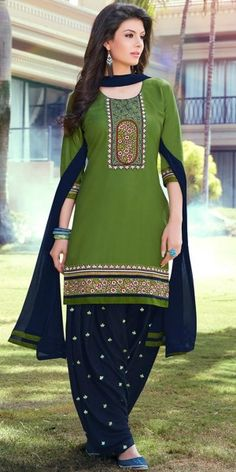 Vibrant Green And Navy Blue Cotton Patiala Suit.