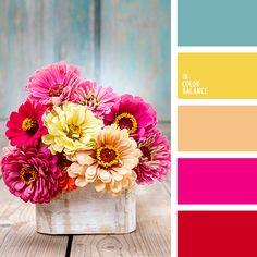 бордовый, желтый, красный, оранжевый, оттенки красного, подбор цвета, подбор цвета для вечеринки, светло-голубой, сине-бирюзовый, солнечный желтый, теплый желтый, тусклый голубой, тусклый синий, цвет вишни, цвет ягод, цвета лета 2018, яркий