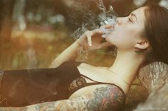 photo by Ira Chernova Sexy Tattoos, Body Art Tattoos, Girl Tattoos, I Tattoo, Tatoos, Tattoo Girls, Smoke Tattoo, Female Tattoos, Women Smoking