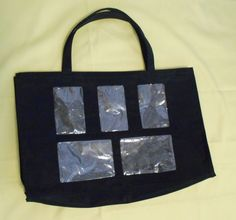 Fashion Huge Tote Black with Clear Squares Polyester 2 handles #Unbranded #TotesShoppers