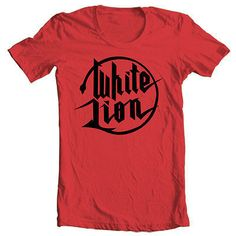 White Lion logo T-shirt retro heavy metal glam rock cotton red tee Big Boys Diner, 80s Heavy Metal, Lion Shirt, Lion Logo, Glam Rock, Shirt Shop, Mens Tees, The Ordinary, Cool T Shirts