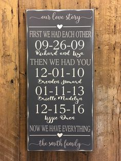 First We Had Each Other Now We Have Everything, Personalized Family Sign, 5th Anniversary Gift, Wood Anniversary Gift, Important Date Sign