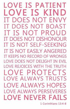 LOVE (1 Corinthians 13:4-8)