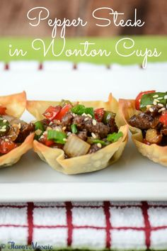 Pepper Steak in Wonton Cups make a great appetizer for a holiday party or a new way to serve pepper steak for dinner or Sunday Supper. New Year's Eve Appetizers, Finger Food Appetizers, Appetizer Recipes, Yummy Appetizers, Snack Recipes, Asian Recipes, Beef Recipes, Cooking Recipes, Healthy Recipes