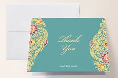 """Modern Maharani"" - Floral & Botanical, Modern Thank You Cards in Turquoise by Kelly Maron Horvath."