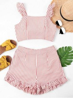 Spring and Summer Striped Flat Elastic High Short Square Regular Fashion Casual and Daily and Going Knotted Square Neck Shorts Set Girls Fashion Clothes, Girl Fashion, Clothes For Women, Womens Fashion, Trendy Fashion, Cute Outfits For School, Cute Summer Outfits, Chic Outfits, Fashion Outfits